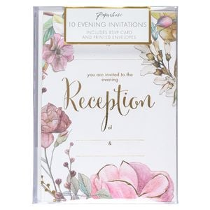 Floral blossom wedding reception invitations - pack of 10