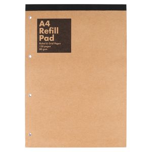 Kraft A4 refill pad - ruled and grid pages