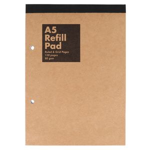 Kraft A5 refill pad - ruled and grid pages