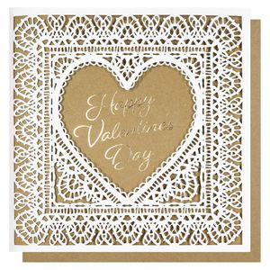 Laser cut lace Valentine's Day card