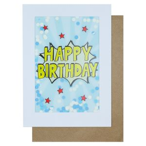 Pow confetti happy birthday card