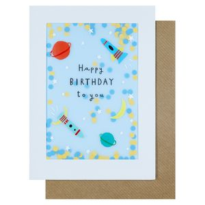 Space rockets birthday card