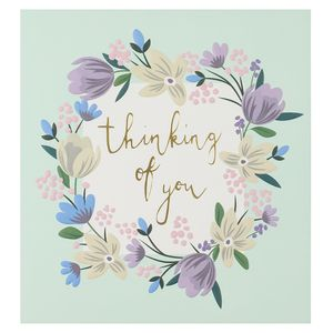 Floral wreath thinking of you card