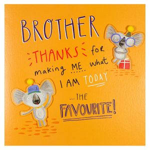 I'm the favourite koala brother birthday card
