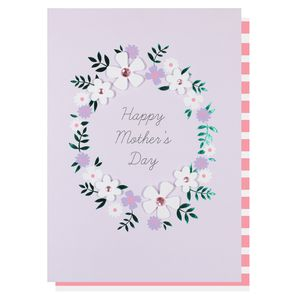Lilac floral wreath Mother's day card