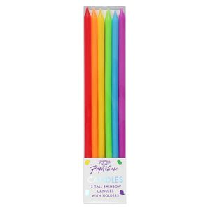 Ginger Ray for Paperchase tall rainbow candles - pack of 12
