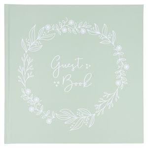 Green floral wedding guest book