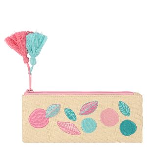Raffia embroidered pencil case