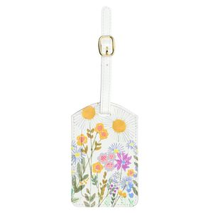 Floral meadow luggage tag