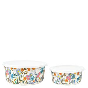 Floral bamboo snack boxes - pack of 2