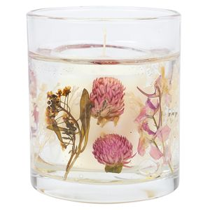 Glass entrapped floral scented candle