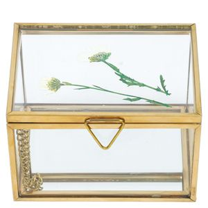 Small pressed flowers glass jewellery box