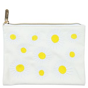Embroidered daisy cosmetic pouch