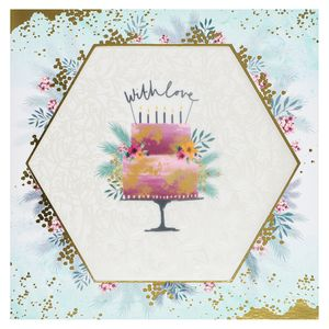 Hexagon cake happy birthday card