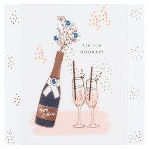 Champagne and flutes happy birthday card