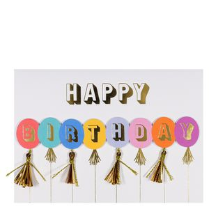 Gold tassels happy birthday card