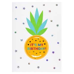 Pineapple badge silver birthday card