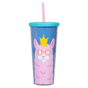 Llamazing tall cup with straw