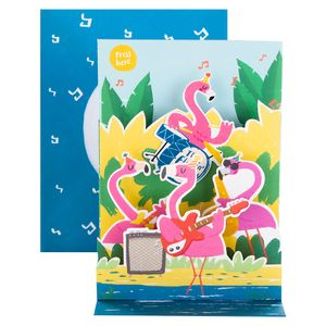 Musical flamingo band birthday card