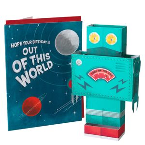 Pop out 3D robot birthday card