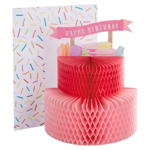 Pop out 3D honeycomb cake card