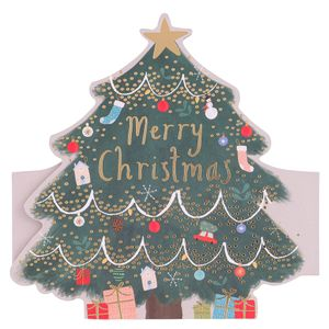Fold out Christmas tree cards - pack of 6