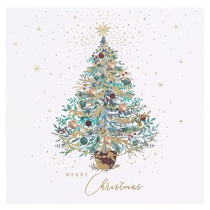 Decorative tree merry Christmas cards - pack of 6