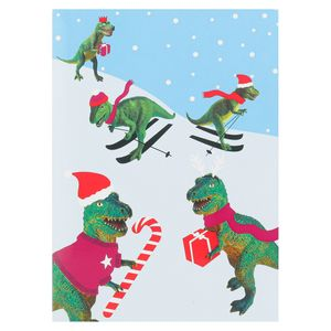 Skiing dinosaurs Christmas cards - pack of 8