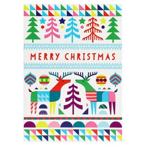 Colourful scandi merry Christmas cards - pack of 8