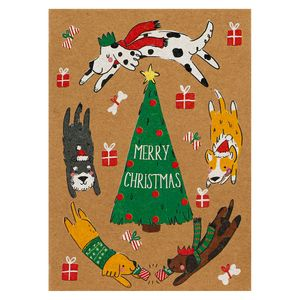 Merry Christmas dogs Christmas cards - pack of 8