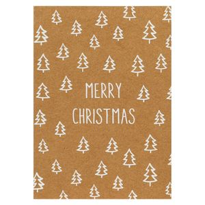 Kraft white trees Christmas cards - pack of 8