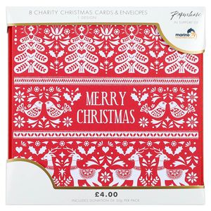Red traditional Scandi charity Christmas cards – pack of 8
