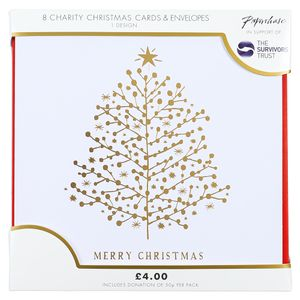 Gold tree Merry Christmas charity Christmas cards – pack of 8