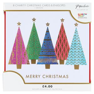 Multi pattern trees charity Christmas cards – pack of 8