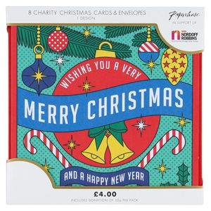 Retro baubles charity Christmas cards – pack of 8