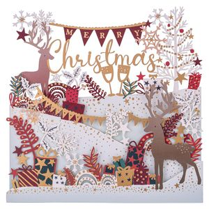 Fold out lasercut deers Christmas card