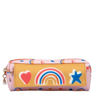 Ditsy pink multi-pocket pencil case