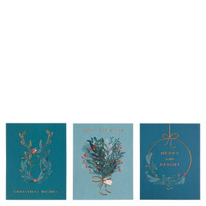 Floral wreath Christmas cards - pack of 12
