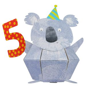 Pop out koala 5th birthday card
