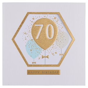 Hexagon 70th balloons birthday card