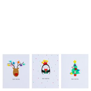 Cute pom pom Christmas cards - pack of 12