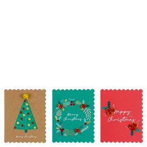 Pom pom scalloped Christmas cards - pack of 12