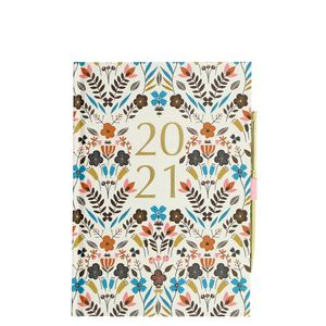A5 Floral 2021 diary with pen