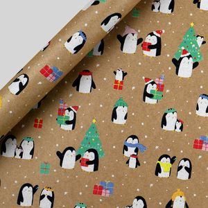Penguin pals Kraft Christmas wrapping paper - 5m