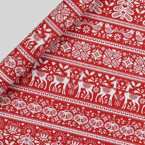 Red scandi Christmas wrapping paper - 3m