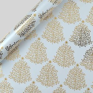 Gold trees Christmas wrapping paper - 3m