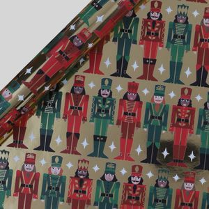 Gold nutcracker Christmas wrapping paper - 3m