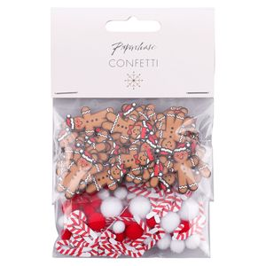 Gingerbread men and candy cane confetti