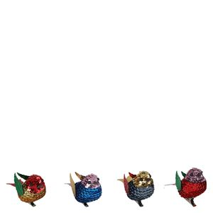 Multi Sequin Bird Christmas Decorations Small - Pack of 4