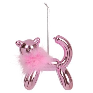 Balloon Cat with Pink Feather Christmas Decoration